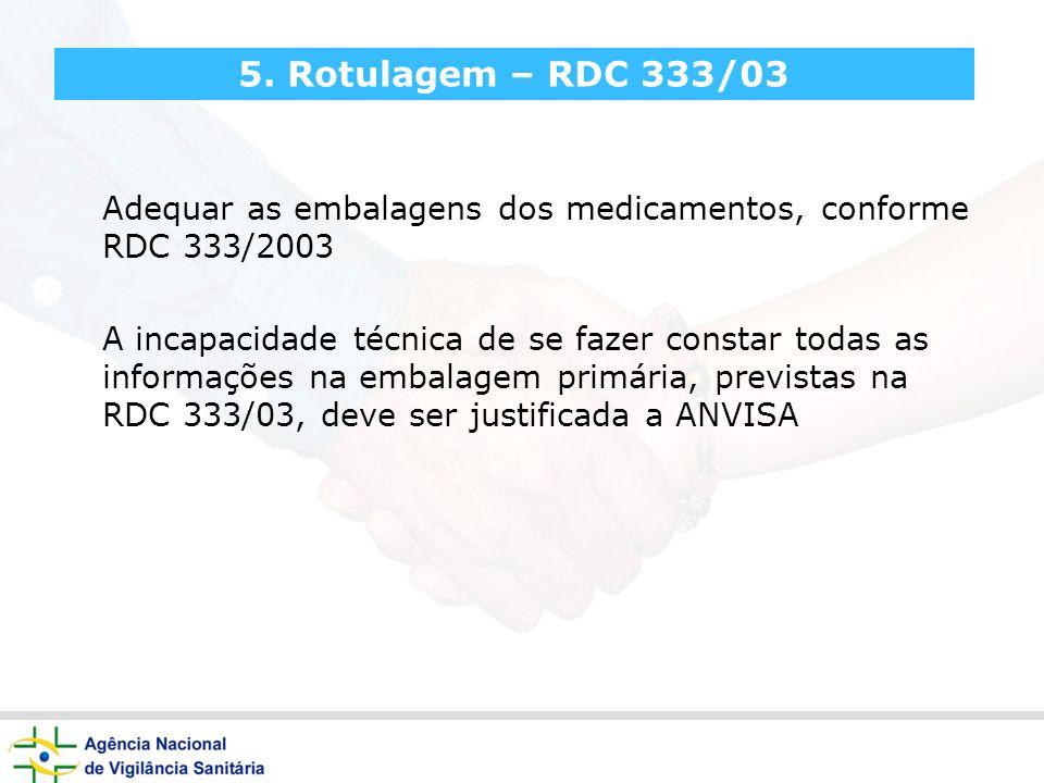 5. Rotulagem – RDC 333/03 Adequar as embalagens dos medicamentos, conforme RDC 333/2003 A incapacidade técnica de se fazer constar todas as informaçõe