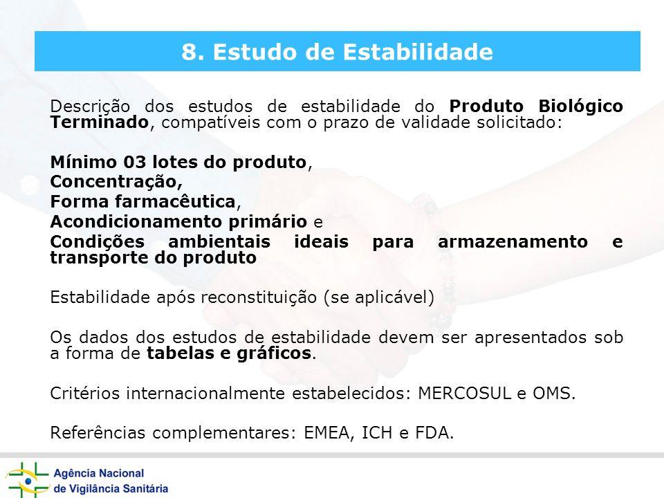 8. Estudo de Estabilidade Descrição dos estudos de estabilidade do Produto Biológico Terminado, compatíveis com o prazo de validade solicitado: Mínimo
