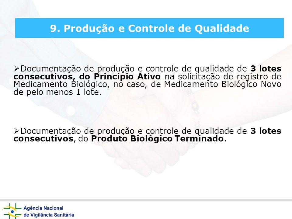 9. Produção e Controle de Qualidade Documentação de produção e controle de qualidade de 3 lotes consecutivos, do Princípio Ativo na solicitação de reg