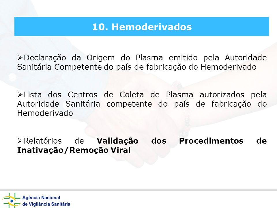 10. Hemoderivados Declaração da Origem do Plasma emitido pela Autoridade Sanitária Competente do país de fabricação do Hemoderivado Lista dos Centros