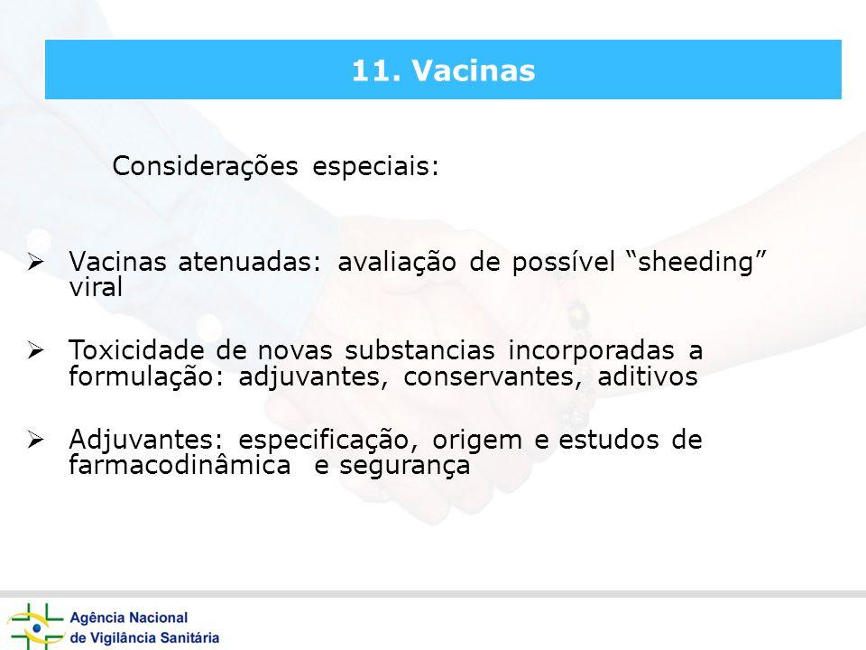 11. Vacinas Considerações especiais: Vacinas atenuadas: avaliação de possível sheeding viral Toxicidade de novas substancias incorporadas a formulação