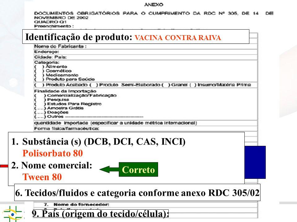 4) Principais causas de exigências referentes a RDC 68/2003 1.Substância (s) (DCB, DCI, CAS, INCI) Vacina contra Raiva Identificação de produto: VACIN