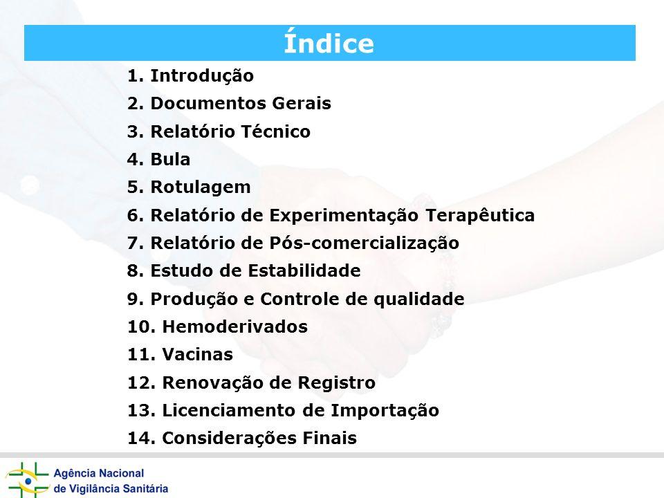 Índice 1. Introdução 2. Documentos Gerais 3. Relatório Técnico 4. Bula 5. Rotulagem 6. Relatório de Experimentação Terapêutica 7. Relatório de Pós-com