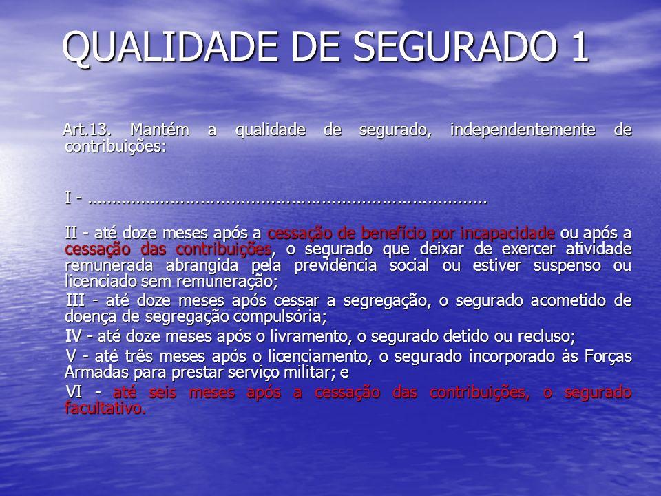 QUALIDADE DE SEGURADO 1 Art.13. Mantém a qualidade de segurado, independentemente de contribuições: Art.13. Mantém a qualidade de segurado, independen