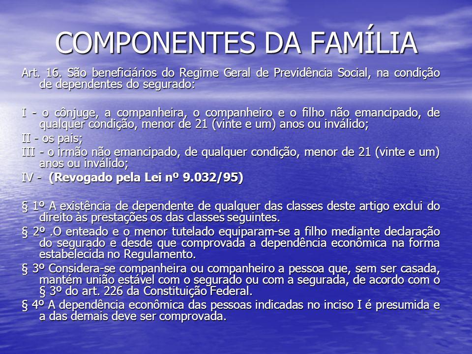 COMPONENTES DA FAMÍLIA Art. 16. São beneficiários do Regime Geral de Previdência Social, na condição de dependentes do segurado: I - o cônjuge, a comp