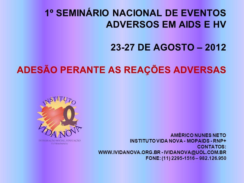 1º SEMINÁRIO NACIONAL DE EVENTOS ADVERSOS EM AIDS E HV 23-27 DE AGOSTO – 2012 ADESÃO PERANTE AS REAÇÕES ADVERSAS AMÉRICO NUNES NETO INSTITUTO VIDA NOV