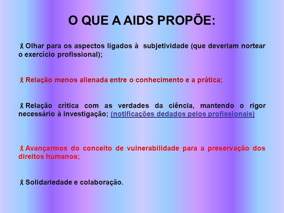 O QUE A AIDS PROPÕE: Olhar para os aspectos ligados à subjetividade (que deveriam nortear o exercício profissional); Relação menos alienada entre o co