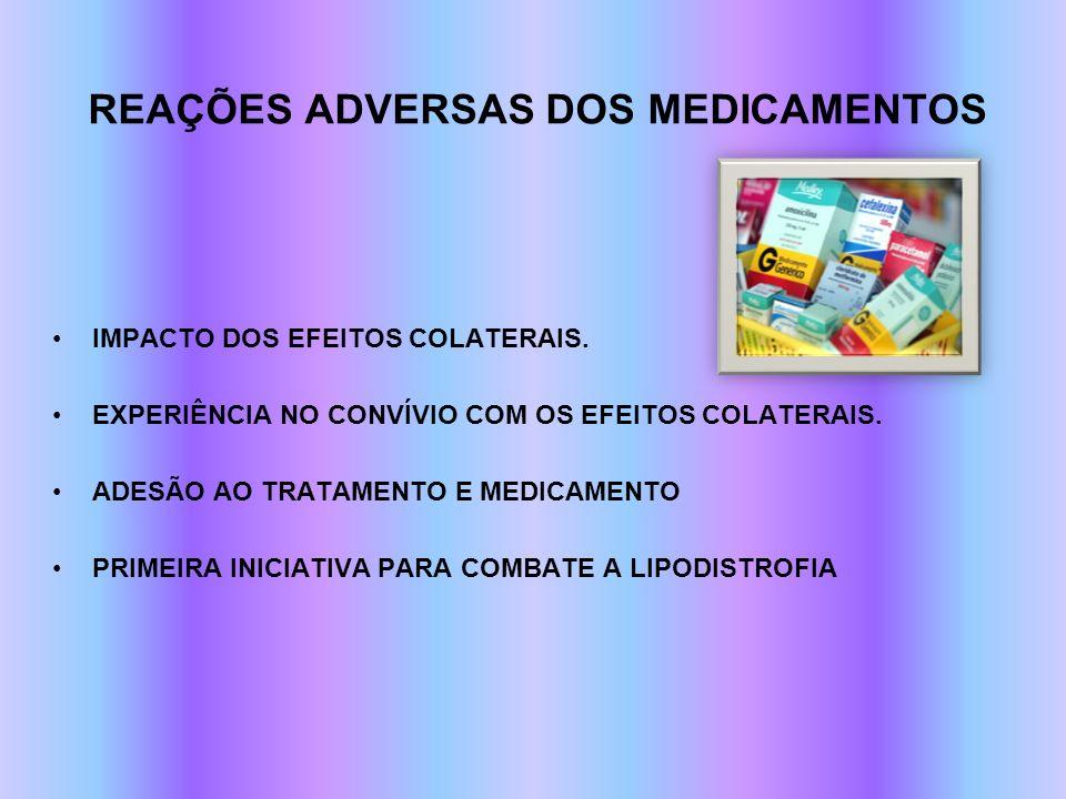 REAÇÕES ADVERSAS DOS MEDICAMENTOS IMPACTO DOS EFEITOS COLATERAIS. EXPERIÊNCIA NO CONVÍVIO COM OS EFEITOS COLATERAIS. ADESÃO AO TRATAMENTO E MEDICAMENT