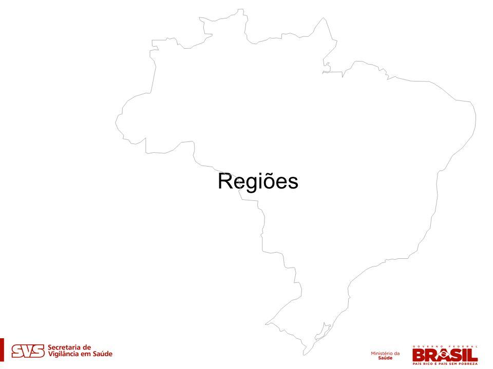 Distribuição percentual dos casos de aids (1) por região de residência.