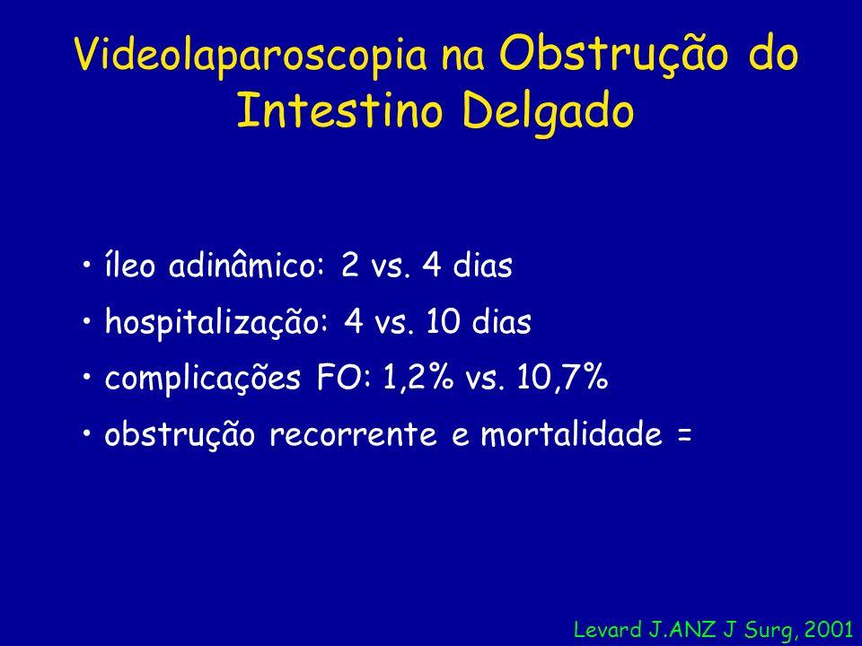 Videolaparoscopia na Obstrução do Intestino Delgado íleo adinâmico: 2 vs. 4 dias hospitalização: 4 vs. 10 dias complicações FO: 1,2% vs. 10,7% obstruç