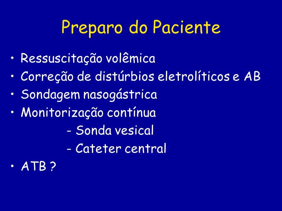 Preparo do Paciente Ressuscitação volêmica Correção de distúrbios eletrolíticos e AB Sondagem nasogástrica Monitorização contínua - Sonda vesical - Ca