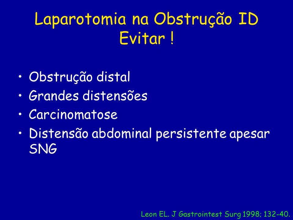 Laparotomia na Obstrução ID Evitar ! Obstrução distal Grandes distensões Carcinomatose Distensão abdominal persistente apesar SNG Leon EL. J Gastroint