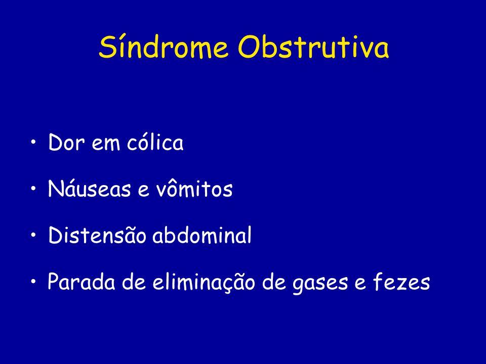 Síndrome Obstrutiva Dor em cólica Náuseas e vômitos Distensão abdominal Parada de eliminação de gases e fezes