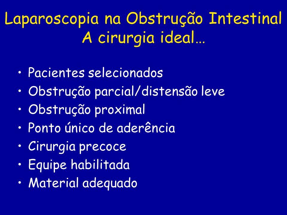Laparoscopia na Obstrução Intestinal A cirurgia ideal… Pacientes selecionados Obstrução parcial/distensão leve Obstrução proximal Ponto único de aderê