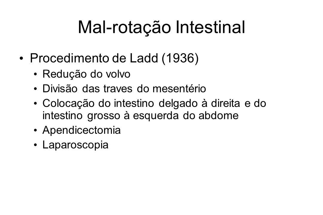 Mal-rotação Intestinal Procedimento de Ladd (1936) Redução do volvo Divisão das traves do mesentério Colocação do intestino delgado à direita e do int