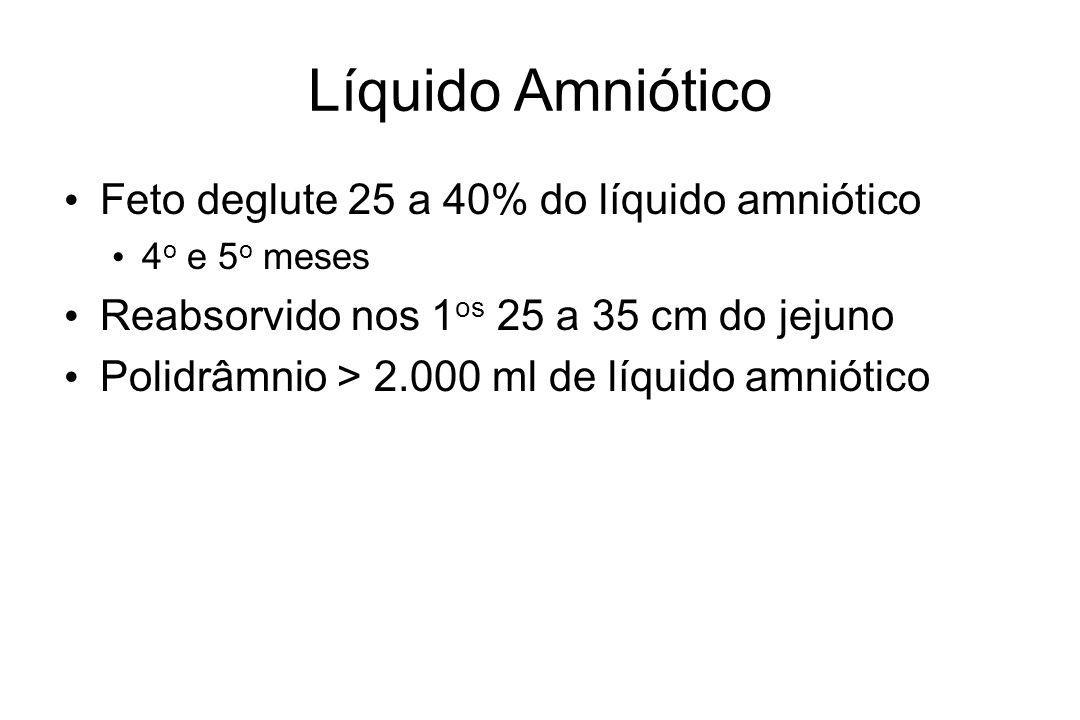 Líquido Amniótico Feto deglute 25 a 40% do líquido amniótico 4 o e 5 o meses Reabsorvido nos 1 os 25 a 35 cm do jejuno Polidrâmnio > 2.000 ml de líqui
