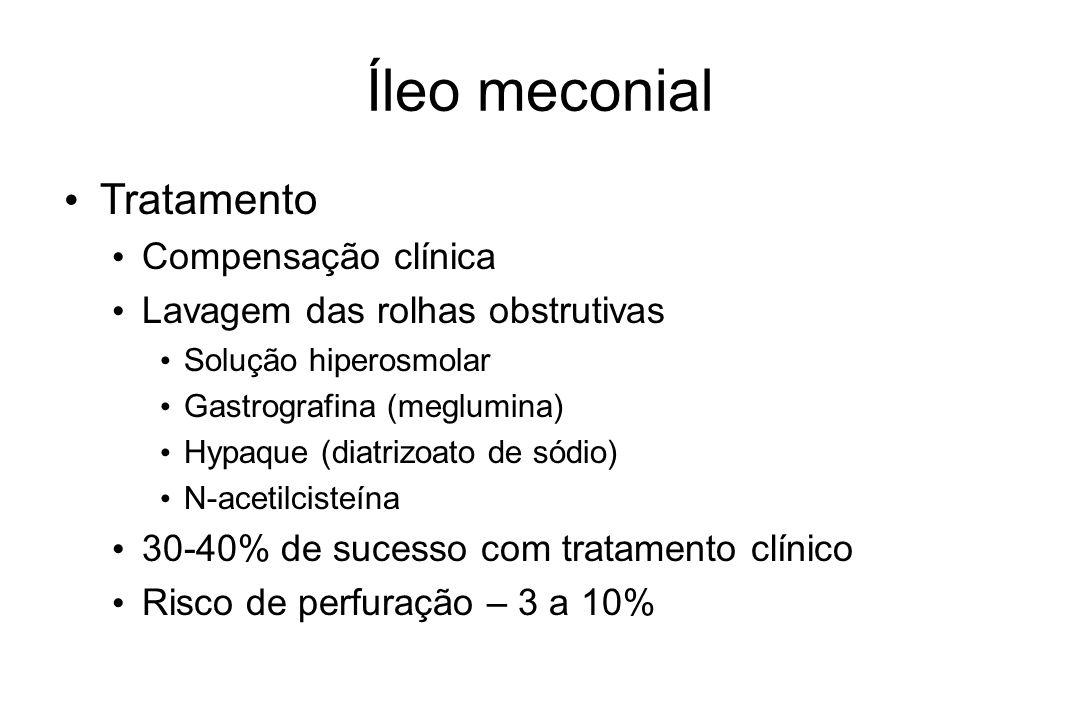 Íleo meconial Tratamento Compensação clínica Lavagem das rolhas obstrutivas Solução hiperosmolar Gastrografina (meglumina) Hypaque (diatrizoato de sód