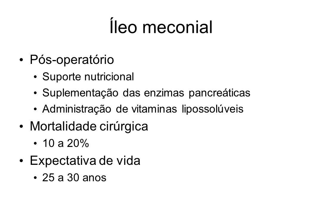 Íleo meconial Pós-operatório Suporte nutricional Suplementação das enzimas pancreáticas Administração de vitaminas lipossolúveis Mortalidade cirúrgica