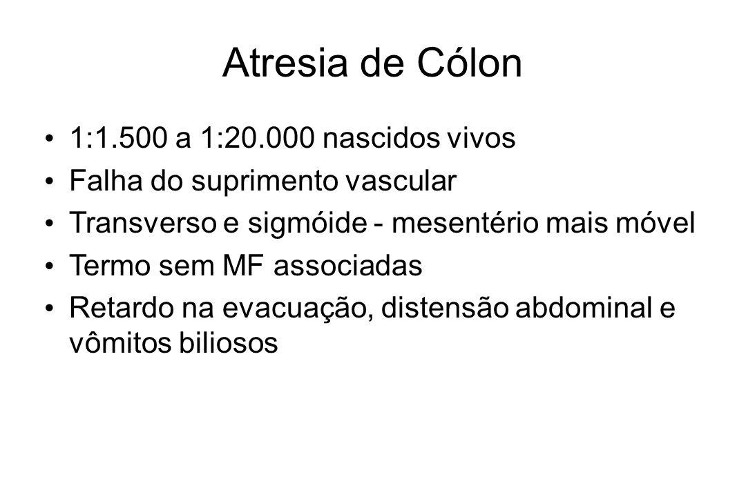 Atresia de Cólon 1:1.500 a 1:20.000 nascidos vivos Falha do suprimento vascular Transverso e sigmóide - mesentério mais móvel Termo sem MF associadas