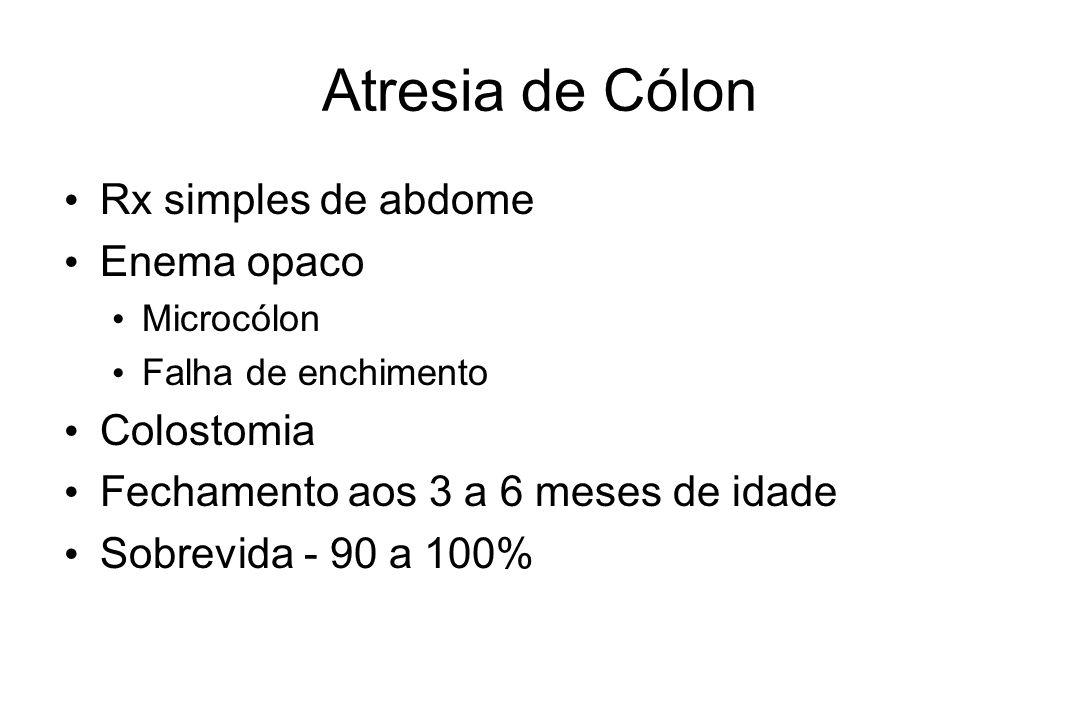 Atresia de Cólon Rx simples de abdome Enema opaco Microcólon Falha de enchimento Colostomia Fechamento aos 3 a 6 meses de idade Sobrevida - 90 a 100%