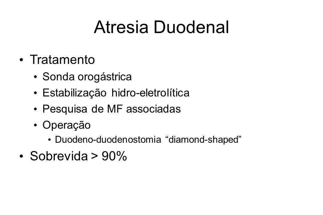 Atresia Duodenal Tratamento Sonda orogástrica Estabilização hidro-eletrolítica Pesquisa de MF associadas Operação Duodeno-duodenostomia diamond-shaped