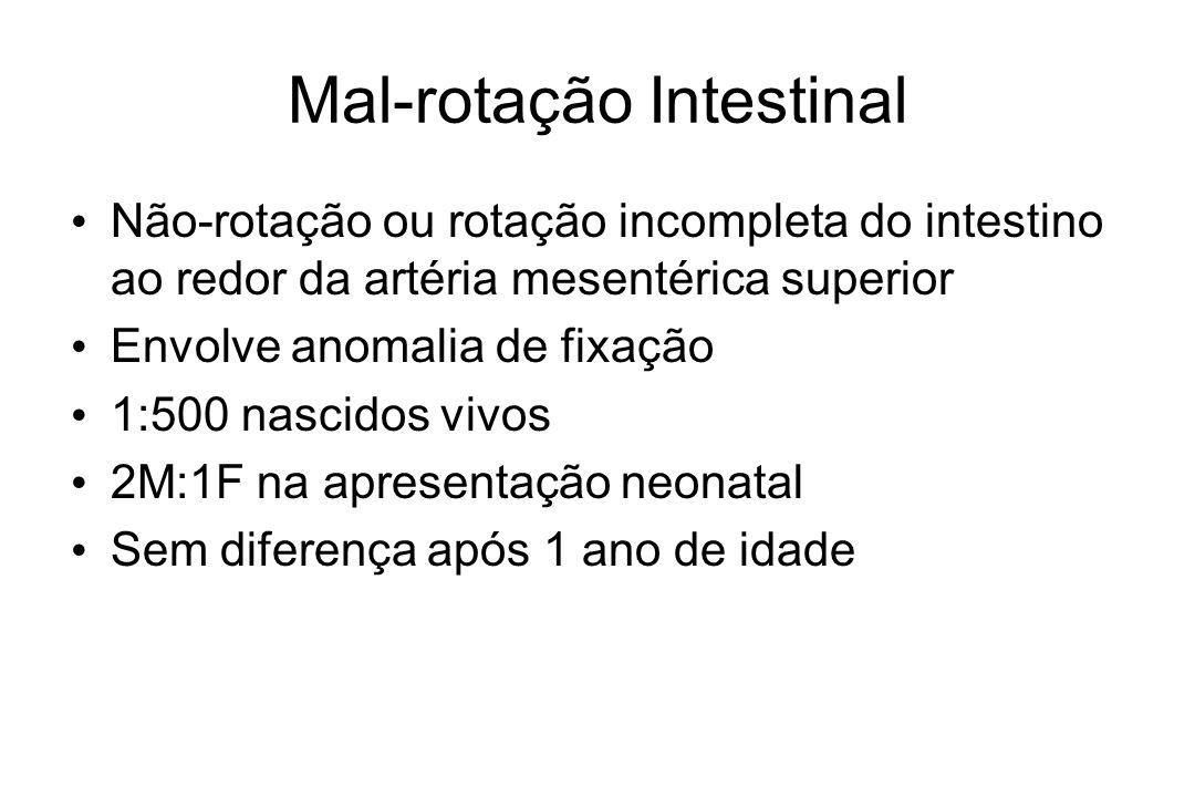 Mal-rotação Intestinal Não-rotação ou rotação incompleta do intestino ao redor da artéria mesentérica superior Envolve anomalia de fixação 1:500 nasci