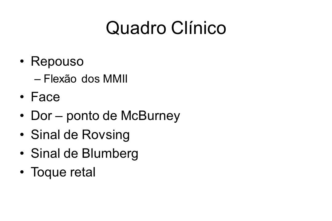Quadro Clínico Repouso –Flexão dos MMII Face Dor – ponto de McBurney Sinal de Rovsing Sinal de Blumberg Toque retal