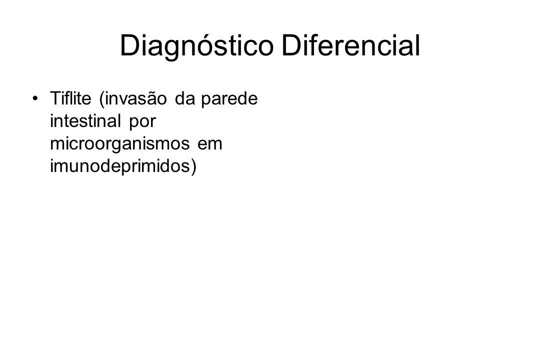 Diagnóstico Diferencial Tiflite (invasão da parede intestinal por microorganismos em imunodeprimidos)