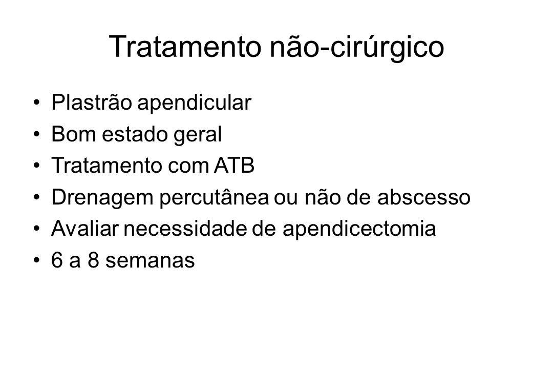 Tratamento não-cirúrgico Plastrão apendicular Bom estado geral Tratamento com ATB Drenagem percutânea ou não de abscesso Avaliar necessidade de apendi