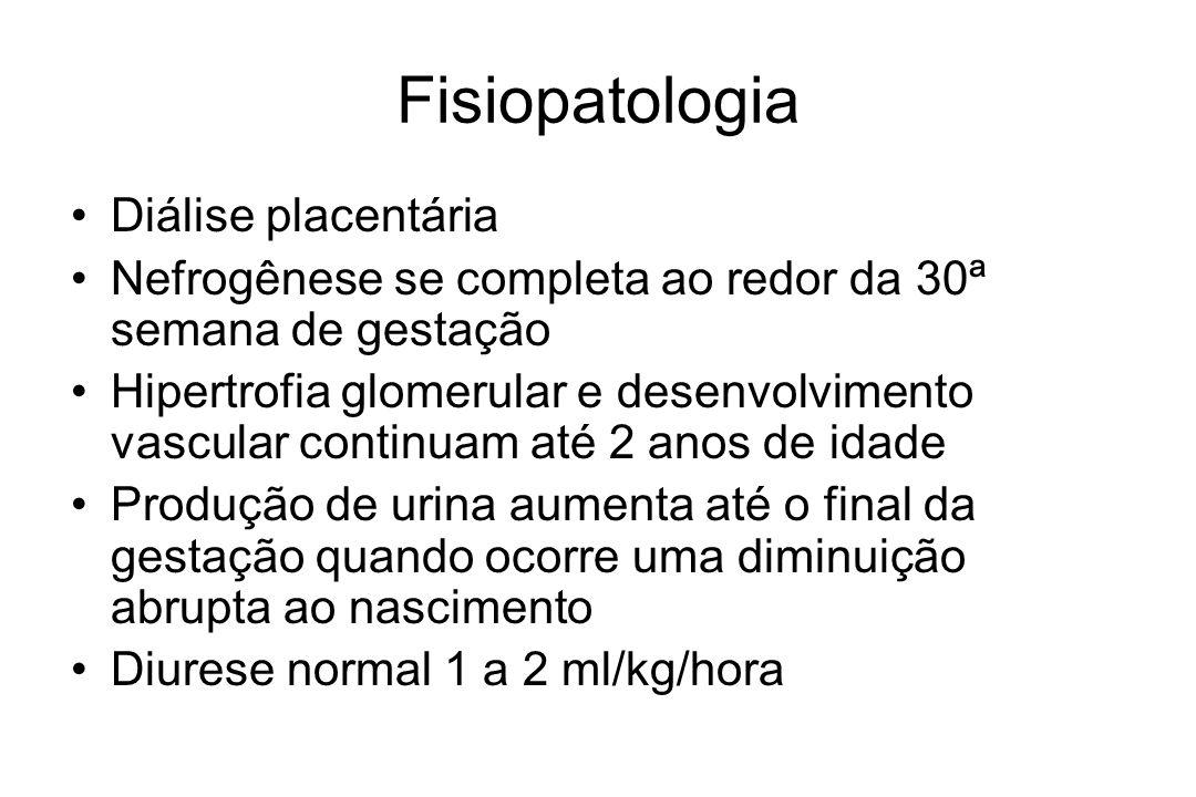 Fisiopatologia Diálise placentária Nefrogênese se completa ao redor da 30ª semana de gestação Hipertrofia glomerular e desenvolvimento vascular continuam até 2 anos de idade Produção de urina aumenta até o final da gestação quando ocorre uma diminuição abrupta ao nascimento Diurese normal 1 a 2 ml/kg/hora