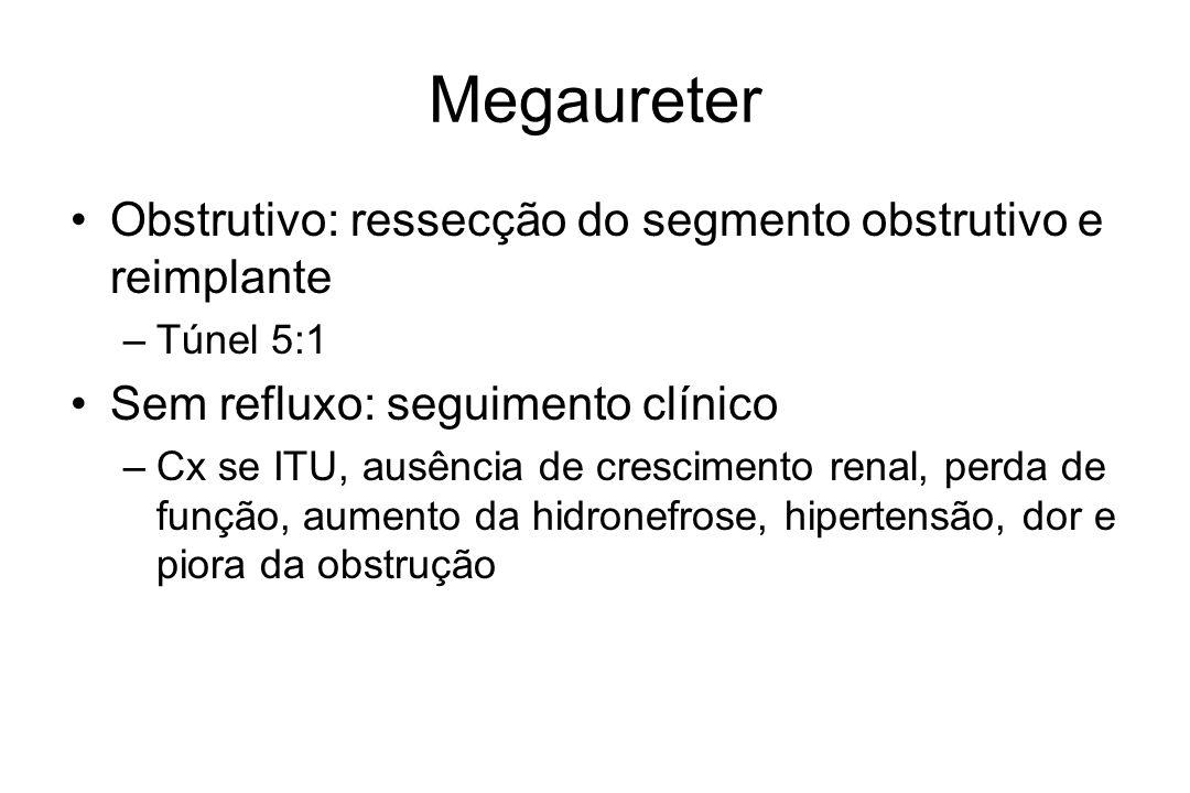 Megaureter Obstrutivo: ressecção do segmento obstrutivo e reimplante –Túnel 5:1 Sem refluxo: seguimento clínico –Cx se ITU, ausência de crescimento renal, perda de função, aumento da hidronefrose, hipertensão, dor e piora da obstrução