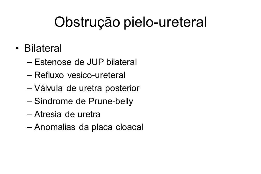 Refluxo vesico-ureteral Primário x secundário Cintilografia Tratamento –Antibioticoprofilaxia –Cirurgia –Endoscópico Reimplante ureteral –Cohen (intra-vesical) –Lich-Gregoir (extra-vesical)