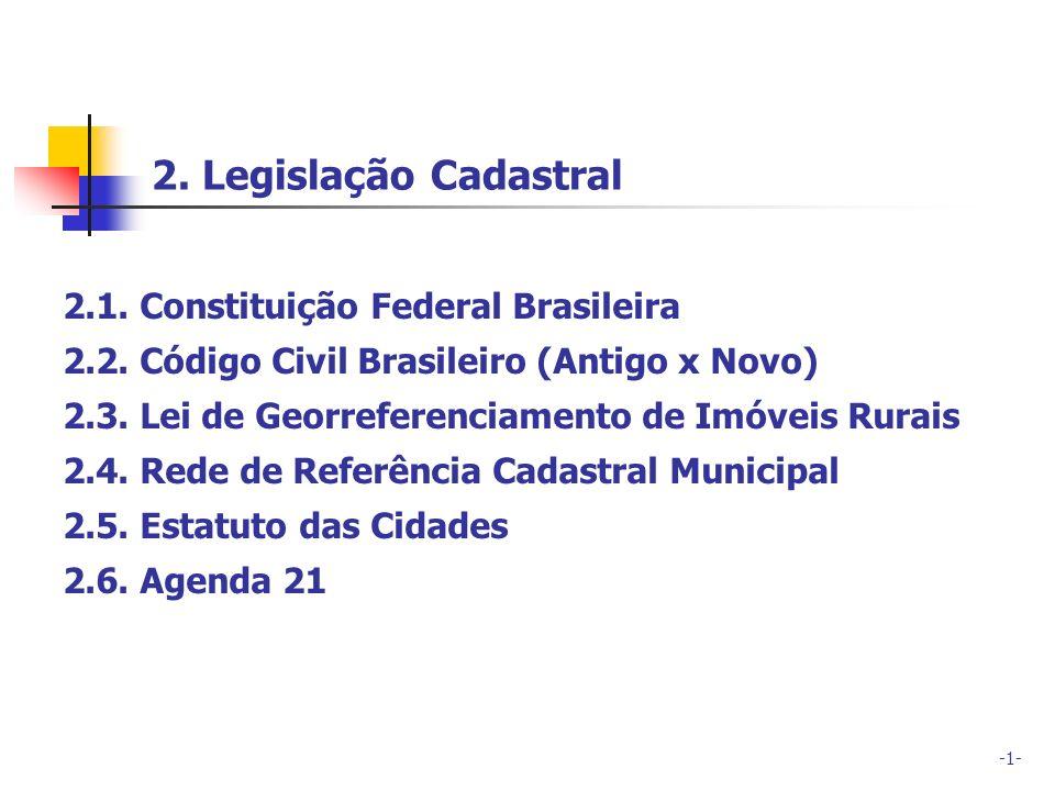 -1- 2.1. Constituição Federal Brasileira 2.2. Código Civil Brasileiro (Antigo x Novo) 2.3. Lei de Georreferenciamento de Imóveis Rurais 2.4. Rede de R