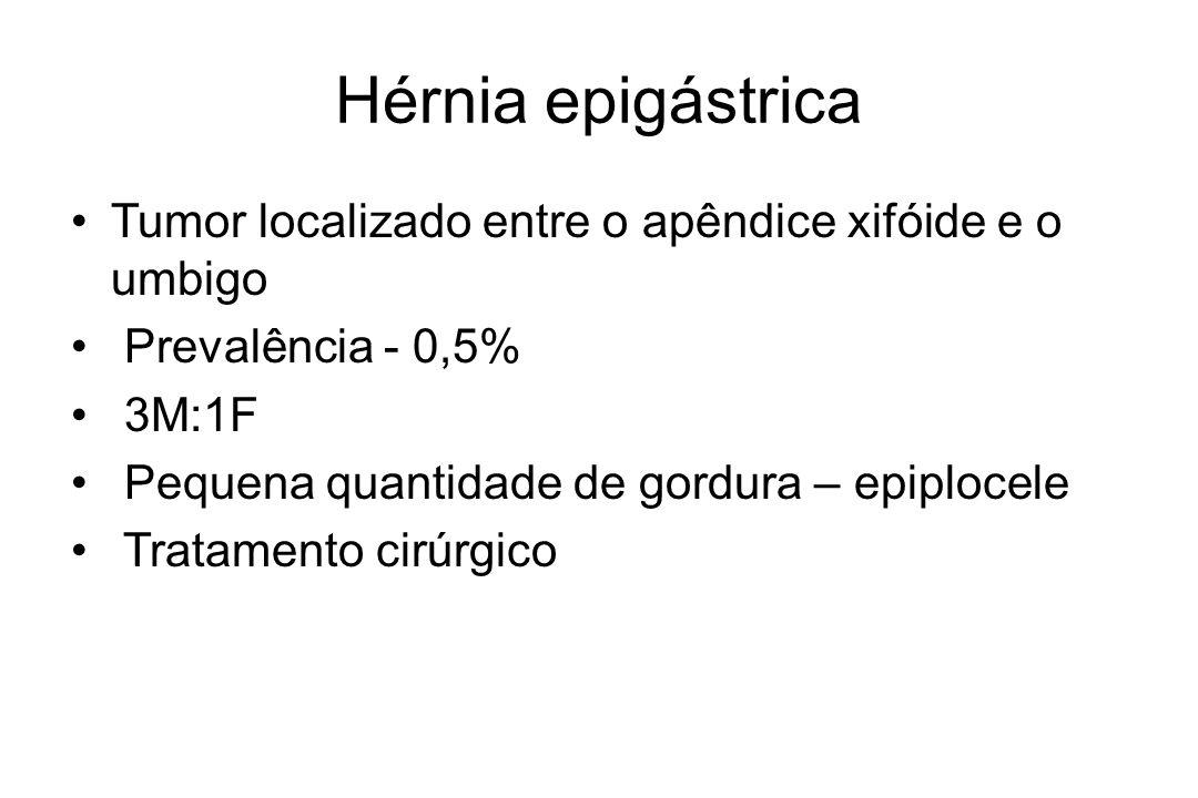 Hérnia epigástrica Tumor localizado entre o apêndice xifóide e o umbigo Prevalência - 0,5% 3M:1F Pequena quantidade de gordura – epiplocele Tratamento