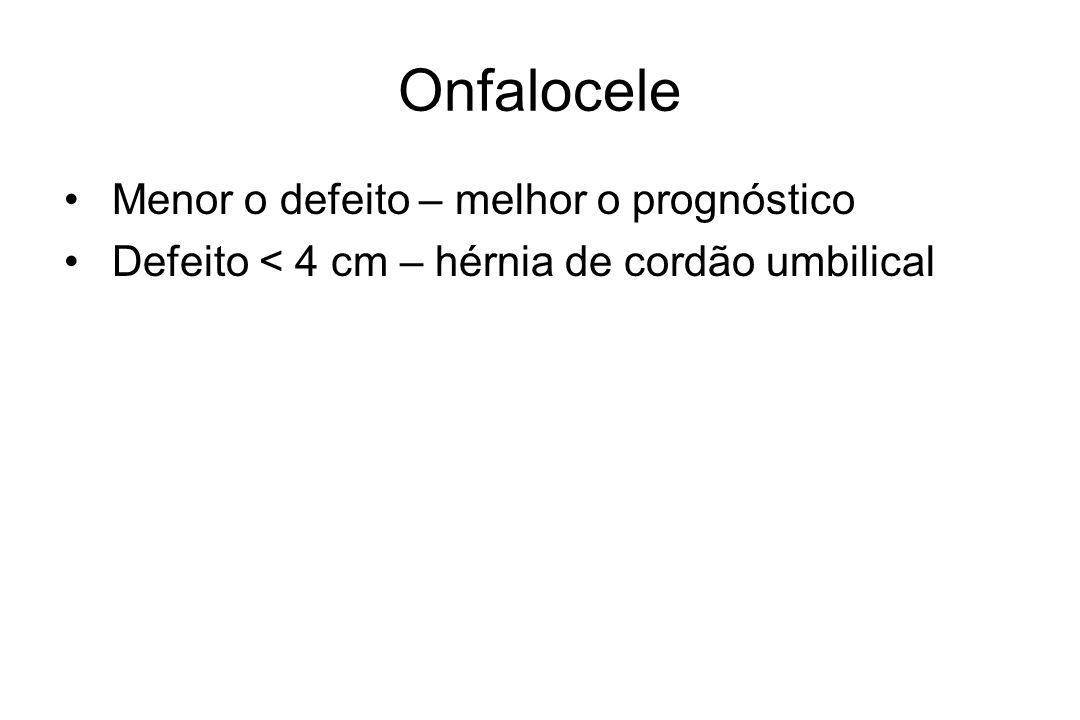 Onfalocele Menor o defeito – melhor o prognóstico Defeito < 4 cm – hérnia de cordão umbilical