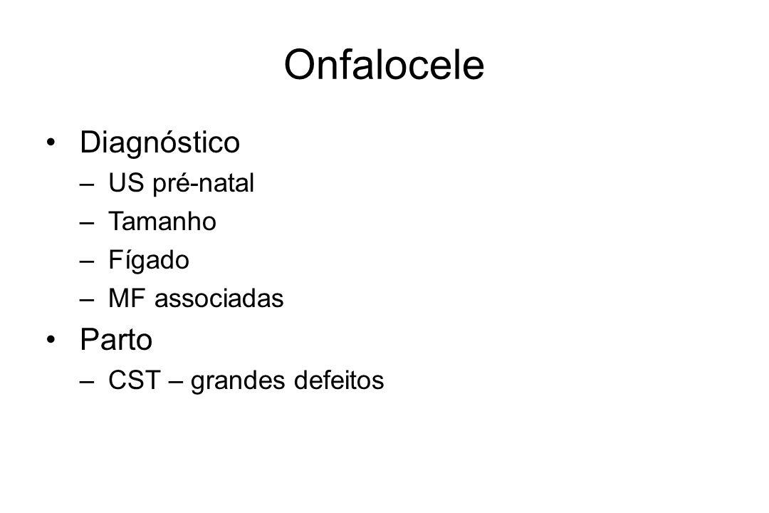 Onfalocele Diagnóstico – US pré-natal – Tamanho – Fígado – MF associadas Parto – CST – grandes defeitos