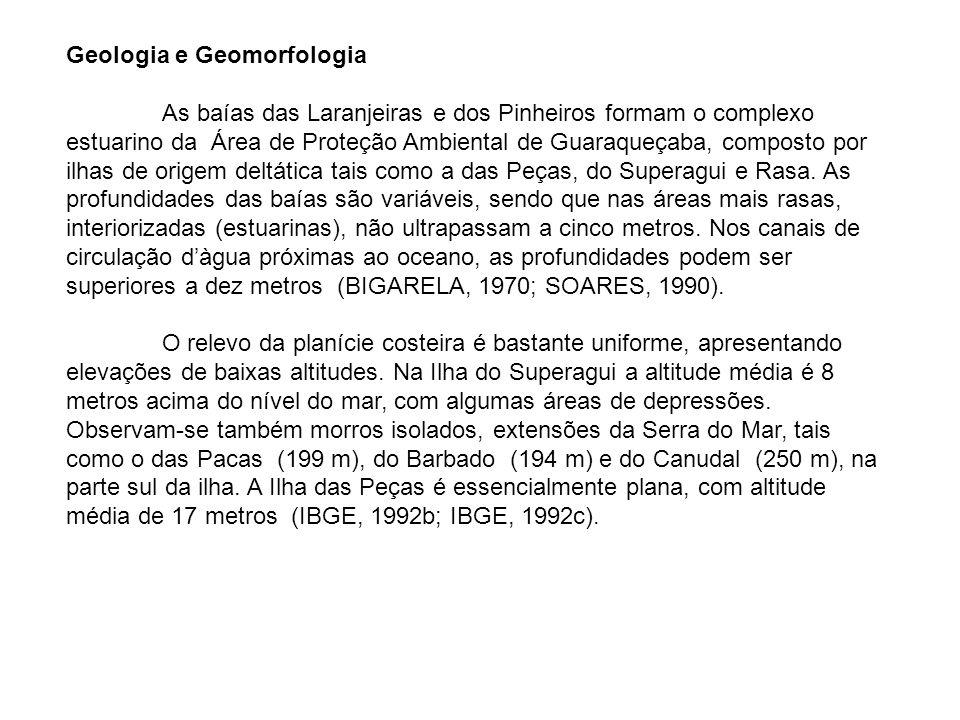 Geologia e Geomorfologia As baías das Laranjeiras e dos Pinheiros formam o complexo estuarino da Área de Proteção Ambiental de Guaraqueçaba, composto