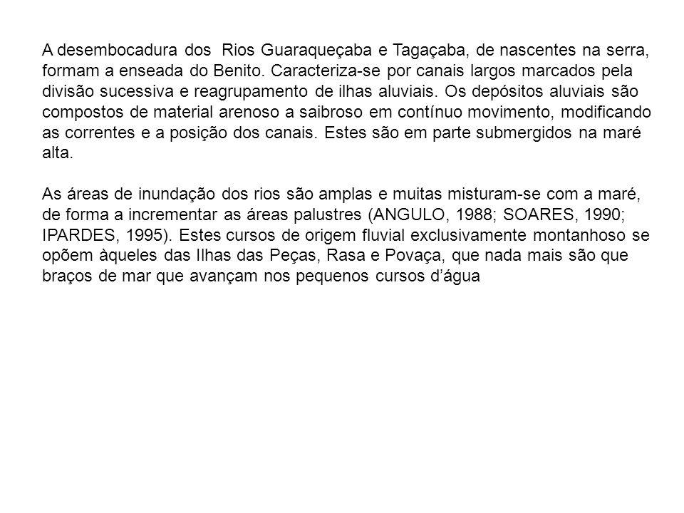 A desembocadura dos Rios Guaraqueçaba e Tagaçaba, de nascentes na serra, formam a enseada do Benito. Caracteriza-se por canais largos marcados pela di