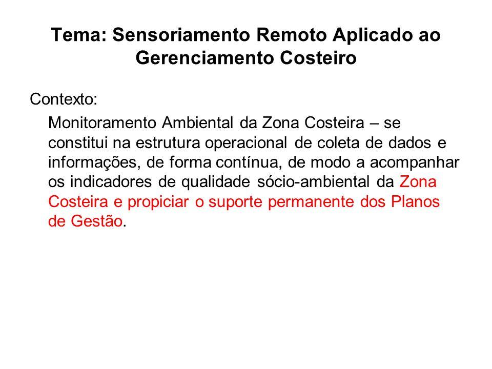Tema: Sensoriamento Remoto Aplicado ao Gerenciamento Costeiro Contexto: Monitoramento Ambiental da Zona Costeira – se constitui na estrutura operacion