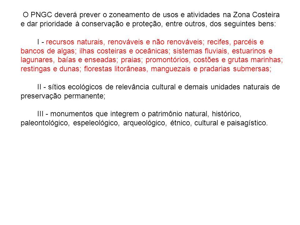 O PNGC deverá prever o zoneamento de usos e atividades na Zona Costeira e dar prioridade à conservação e proteção, entre outros, dos seguintes bens: I