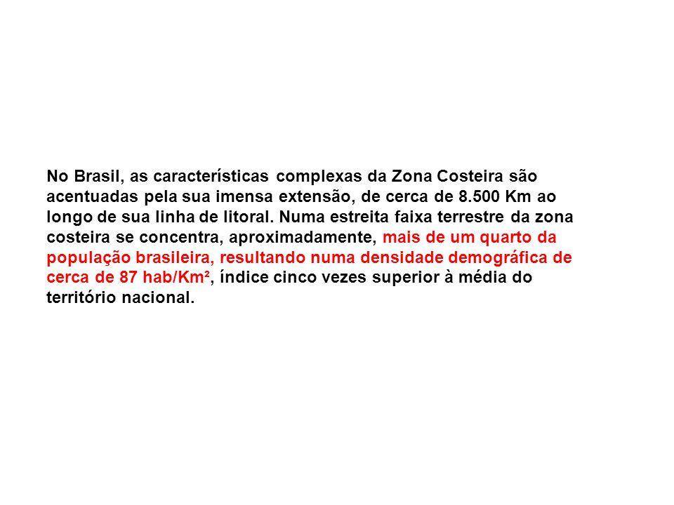 No Brasil, as características complexas da Zona Costeira são acentuadas pela sua imensa extensão, de cerca de 8.500 Km ao longo de sua linha de litora