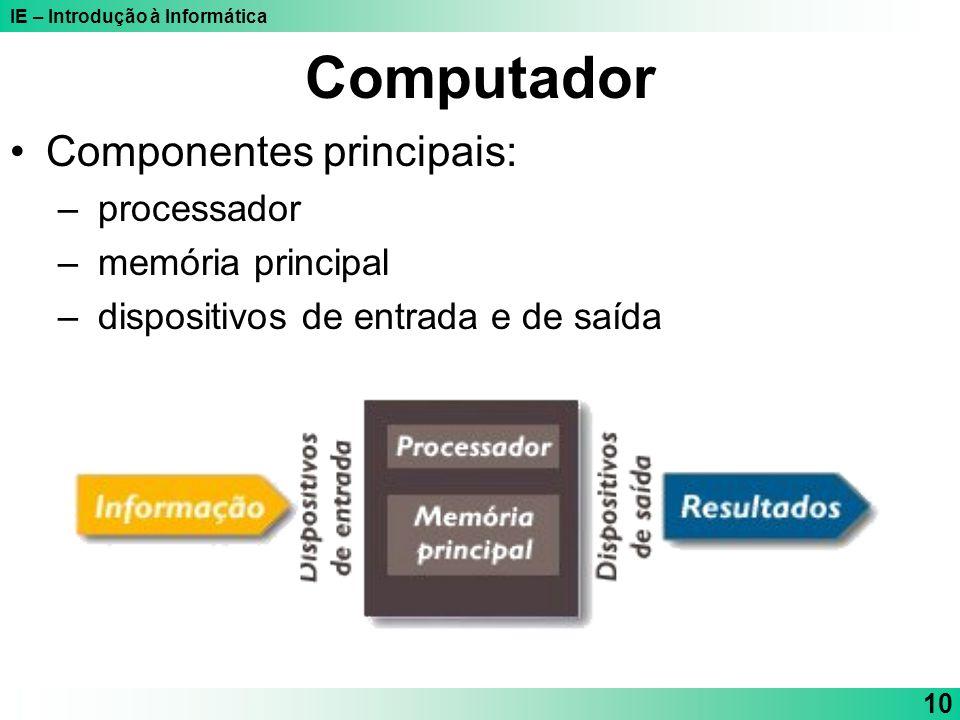 IE – Introdução à Informática 10 Computador Componentes principais: – processador – memória principal – dispositivos de entrada e de saída