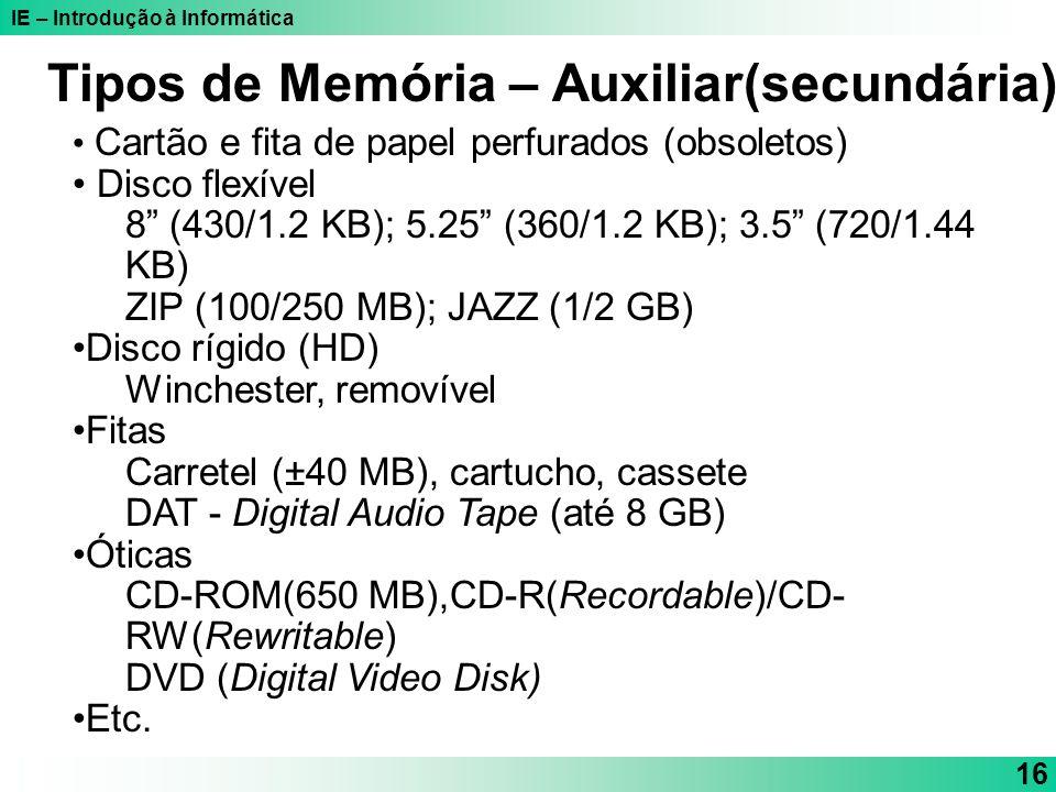IE – Introdução à Informática 16 Cartão e fita de papel perfurados (obsoletos) Disco flexível 8 (430/1.2 KB); 5.25 (360/1.2 KB); 3.5 (720/1.44 KB) ZIP
