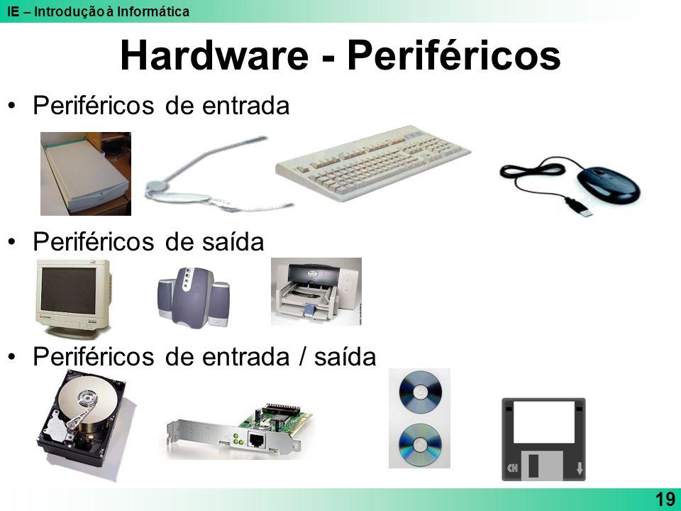 IE – Introdução à Informática 19 Hardware - Periféricos Periféricos de entrada Periféricos de saída Periféricos de entrada / saída