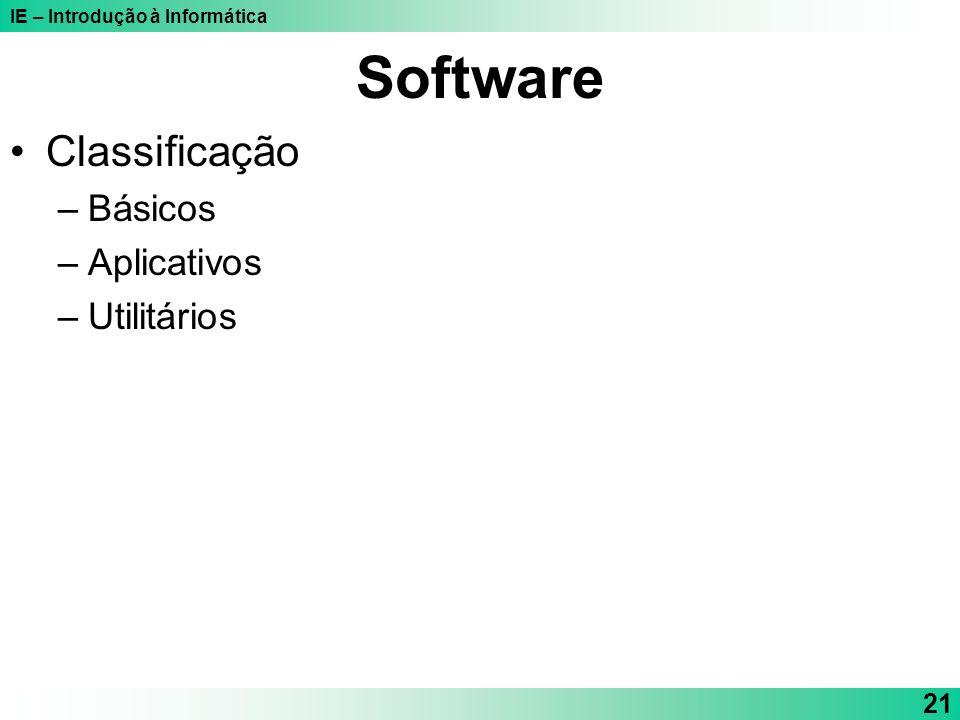 IE – Introdução à Informática 21 Software Classificação –Básicos –Aplicativos –Utilitários