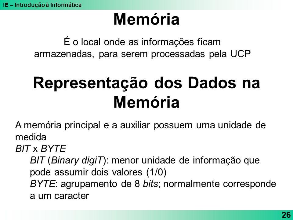 IE – Introdução à Informática 26 É o local onde as informações ficam armazenadas, para serem processadas pela UCP Memória Representação dos Dados na M