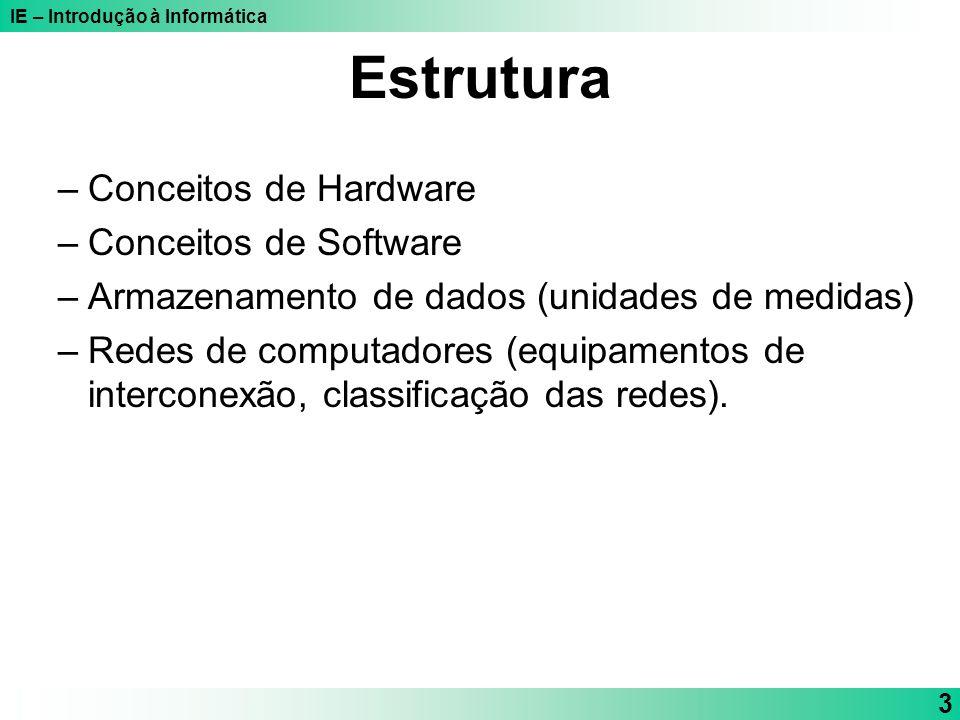 IE – Introdução à Informática 3 Estrutura –Conceitos de Hardware –Conceitos de Software –Armazenamento de dados (unidades de medidas) –Redes de comput