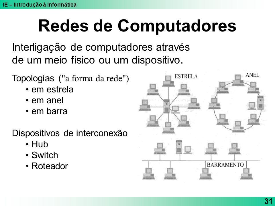 IE – Introdução à Informática 31 Redes de Computadores Interligação de computadores através de um meio físico ou um dispositivo. Topologias (