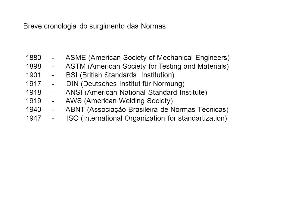 Breve cronologia do surgimento das Normas 1880 - ASME (American Society of Mechanical Engineers) 1898 - ASTM (American Society for Testing and Materia