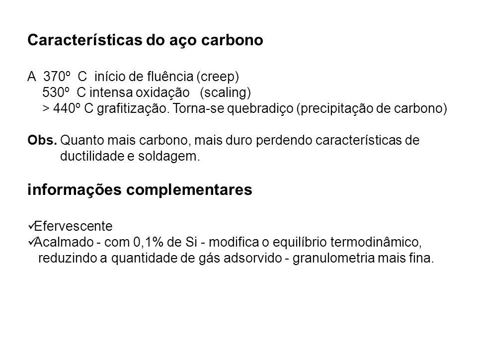 Características do aço carbono A 370º C início de fluência (creep) 530º C intensa oxidação (scaling) > 440º C grafitização. Torna-se quebradiço (preci